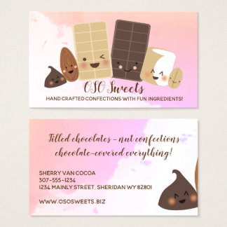 Cute chocolate nut baking candy business card