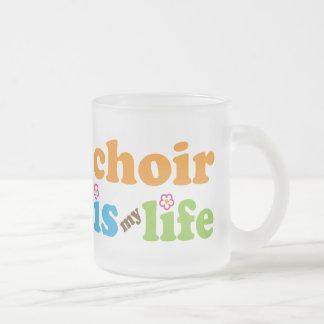 Cute Choir is My Life Retro Flowers Frosted Glass Coffee Mug