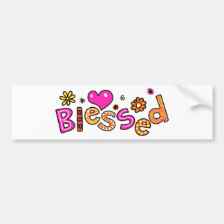 Cute Christian Blessed Greeting Text Expression Bumper Sticker