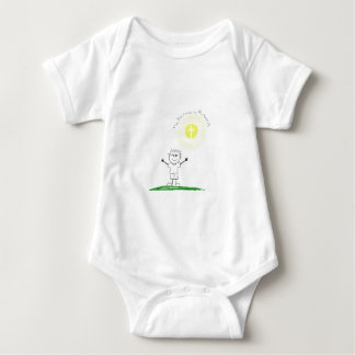 Cute Christian character with scripture Baby Bodysuit