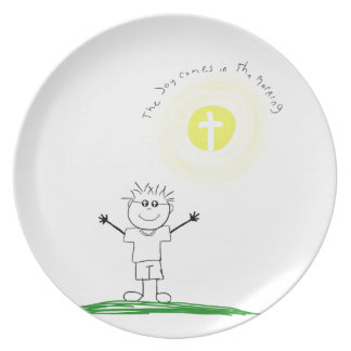 Cute Christian character with scripture Dinner Plates