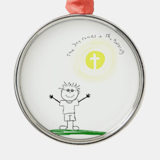 Cute Christian character with scripture Silver-Colored Round Decoration