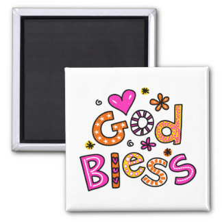 Cute Christian God Bless Greeting Text Expression Square Magnet
