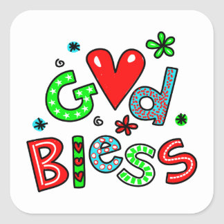 Cute Christian God Bless Greeting Text Expression Square Sticker