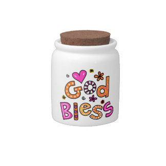 Cute Christian God Bless Greeting Text Expression Candy Dish