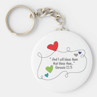 Cute Christian heart bible blessing Genesis 12:3 Basic Round Button Key Ring