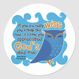 Cute Christian Owl Round Sticker