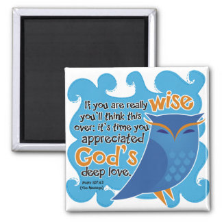 Cute Christian Owl Square Magnet