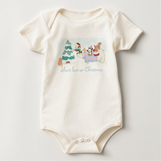 Cute Christmas animals decorating a snowy tree Baby Bodysuit