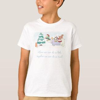 Cute Christmas animals decorating a snowy tree T-Shirt