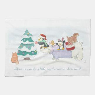 Cute Christmas animals decorating a snowy tree Tea Towel