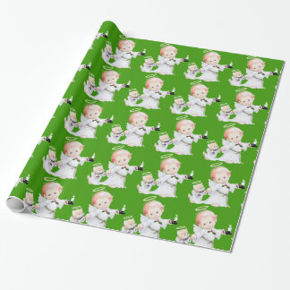 Cute Christmas Baby Angel And Cat On Green Wrapping Paper