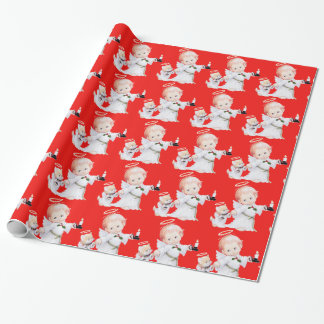 Cute Christmas Baby Angel And Cat On red Wrapping Paper