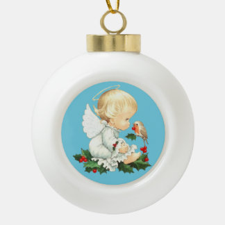 Cute Christmas Baby Angel with Robin Ceramic Ball Decoration