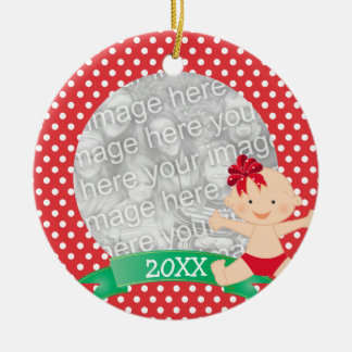 Cute Christmas Baby with Bow Red First Christmas Round Ceramic Decoration