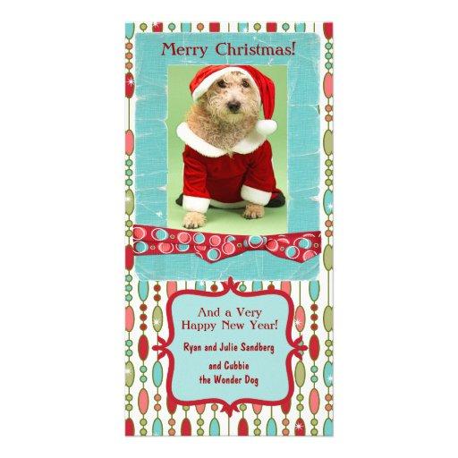Cute Christmas Beaded Whimsy Customized Photo Card