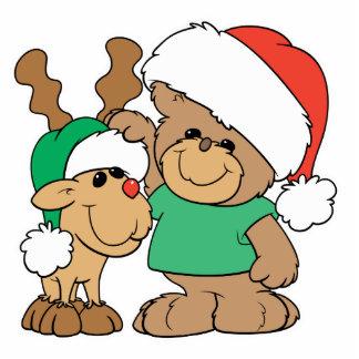 Cute Christmas Bear and Reindeer Standing Photo Sculpture
