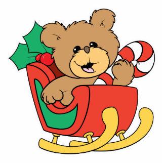 Cute Christmas Bear in Sleigh Standing Photo Sculpture