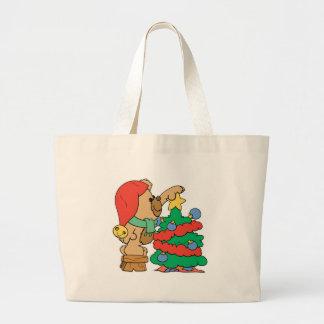 Cute Christmas Bear Trimming Tree Canvas Bag