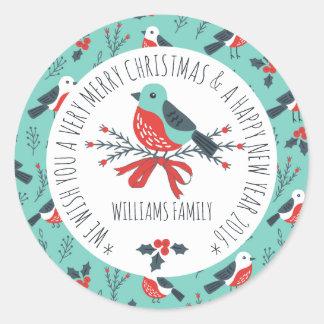 Cute Christmas Bird Pattern Text Template Round Sticker
