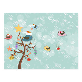 Cute Christmas Birds Postcard