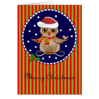 Cute Christmas card with cartoon owl and text