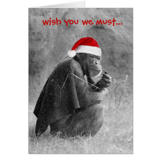 "Cute Christmas  Card ""Yoda-like"" Chimp!"