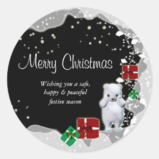 Cute Christmas cartoon bear snow gifts Sticker