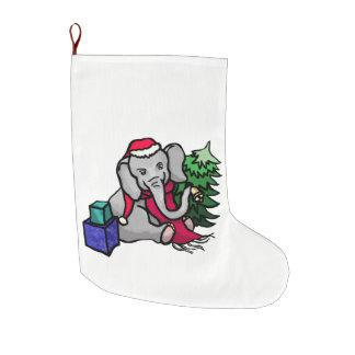 Cute Christmas Cartoon Elephant in the Snow Large Christmas Stocking