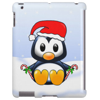 Cute Christmas Cartoon Penguin with Candy Canes