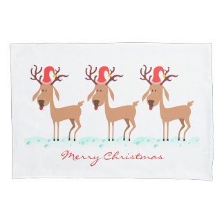 Cute Christmas Cartoon Reindeer Deer Optional Word Pillowcase