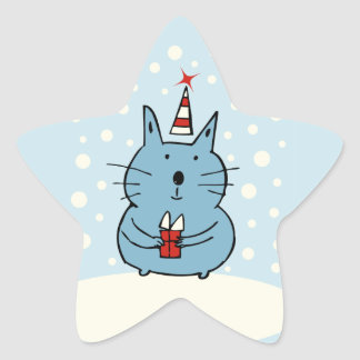 Cute Christmas Cat Star Stickers