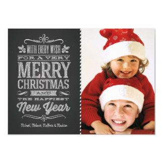Cute Christmas Chalkboard Photo Template Card