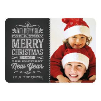 Cute Christmas Chalkboard Photo Template Card 13 Cm X 18 Cm Invitation Card