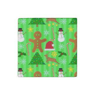 Cute Christmas Collage Holiday Pattern Stone Magnet