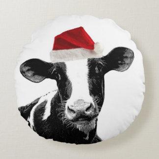 Cute Christmas Costume Cows Round Cushion