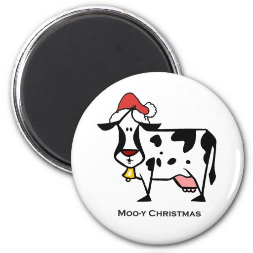 Cute Christmas Cow 6 Cm Round Magnet