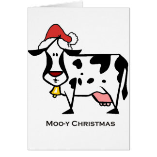 Cute Christmas Cow Greeting Card