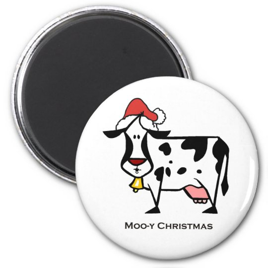 Cute Christmas Cow Magnet