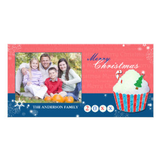 Cute Christmas Cupcake Holiday Greetings Photo Personalized Photo Card