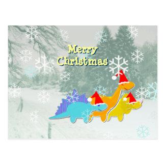 Cute Christmas Dinosaurs Postcard