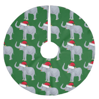 Cute Christmas Elephant Brushed Polyester Tree Skirt