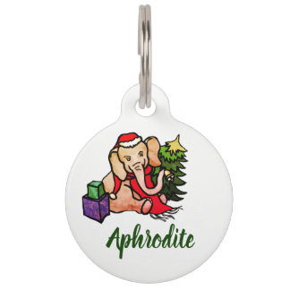 Cute Christmas Elephant with Name and Contact Info Pet ID Tag