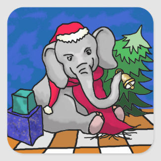 Cute Christmas Elephant With Red Scarf and Bell Square Sticker