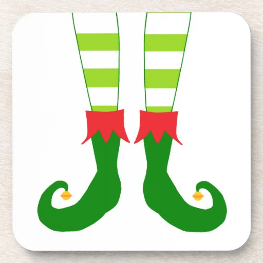Cute Christmas Elf Feet Drink Coaster