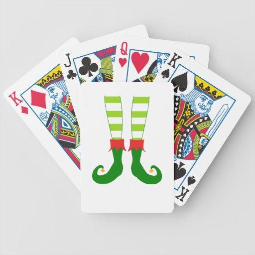 Cute Christmas Elf Feet Bicycle Poker Cards