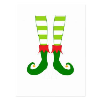 Cute Christmas Elf Feet Postcard