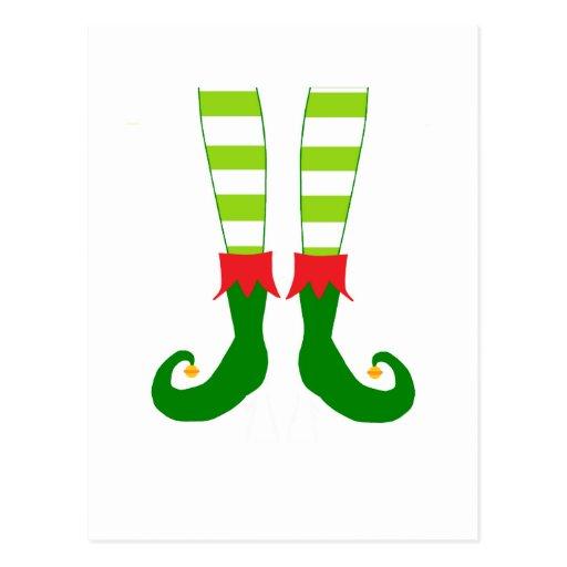 Cute Christmas Elf Feet Post Card