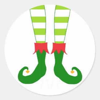 Cute Christmas Elf Feet Round Sticker
