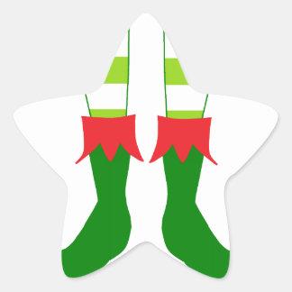 Cute Christmas Elf Feet Star Sticker